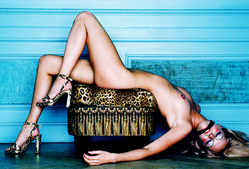 Tony_Ward_erotica_German_model_leopard_stilettos_leopard_sofa_gagged_blonde_reclining_nude
