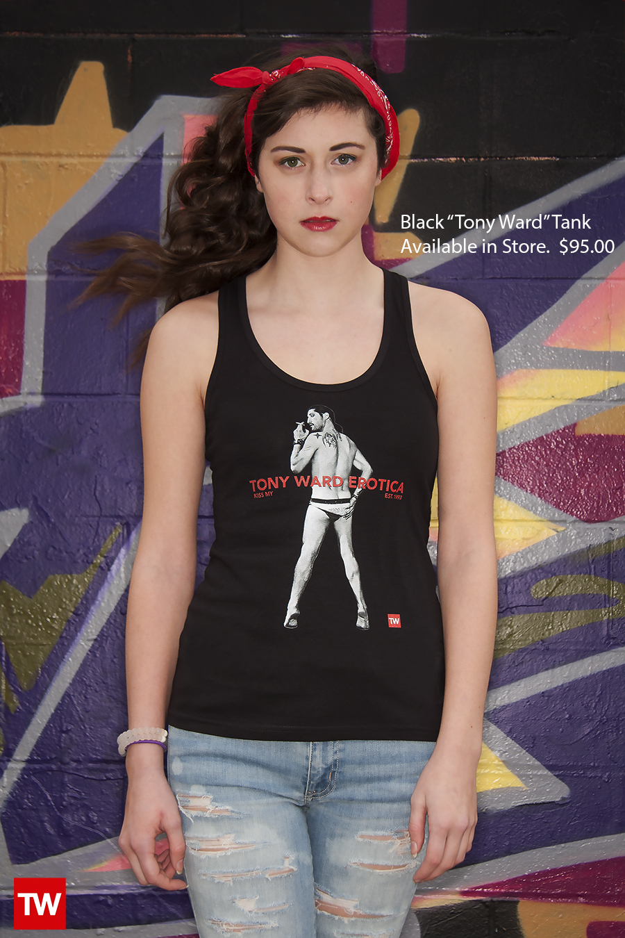 Tony_Ward_Studio_e_commerce_store_t-shirts_black_Kiss_My_tank_sale_model_Caralisa