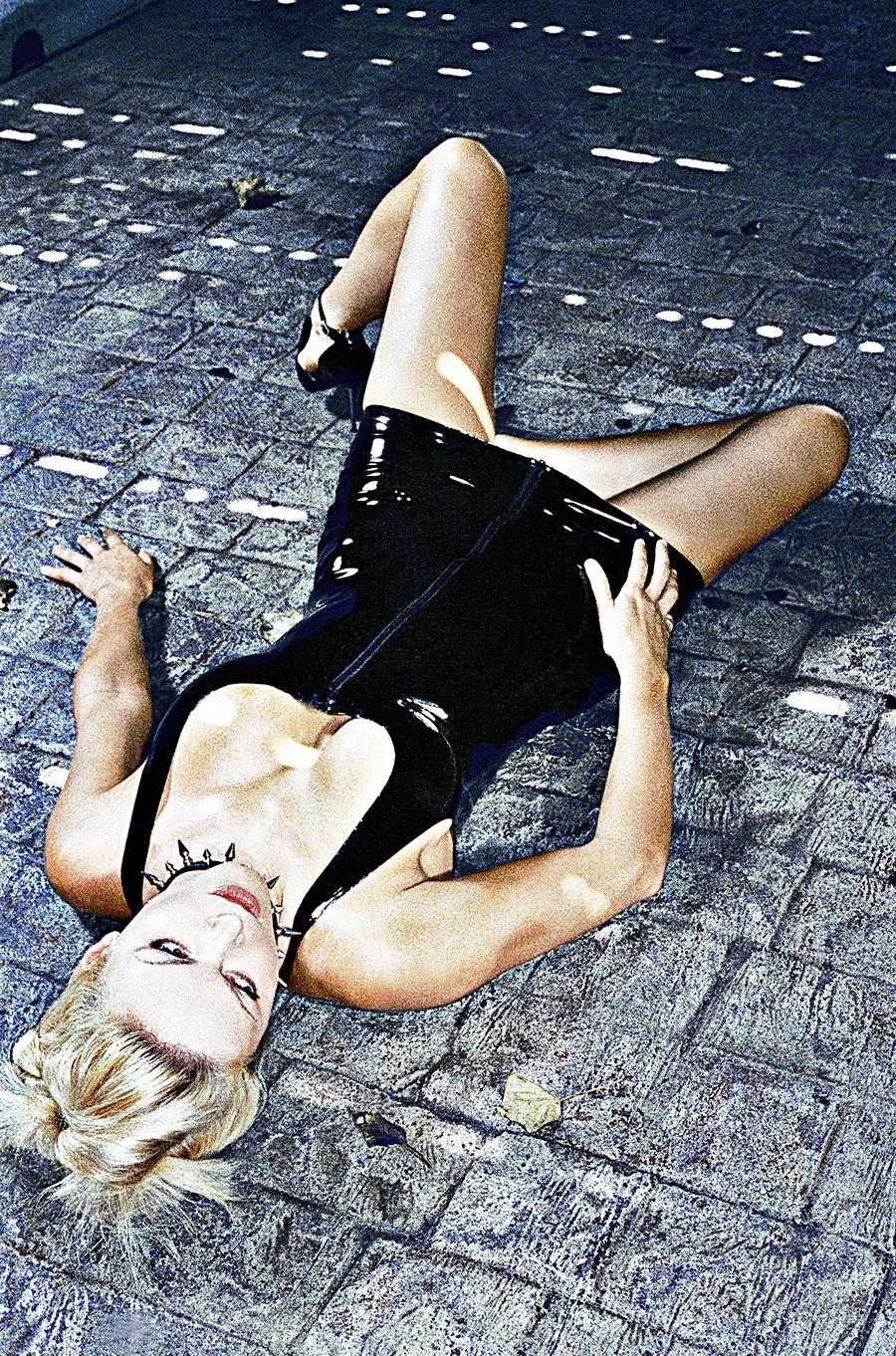 Tony_Ward_erotic_fetish_photography_latex_dress_stone_pavement_collar_blond_model_fashion_shoot_Jersey_shore