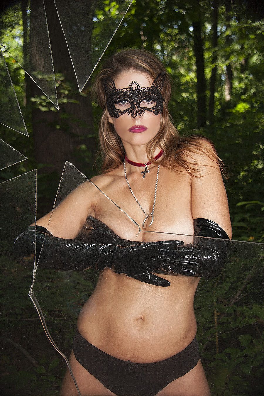 Tony_Ward_Erotica_masked_topless_submissive_broken_glass_outdoors_black_gloves_lace_mask